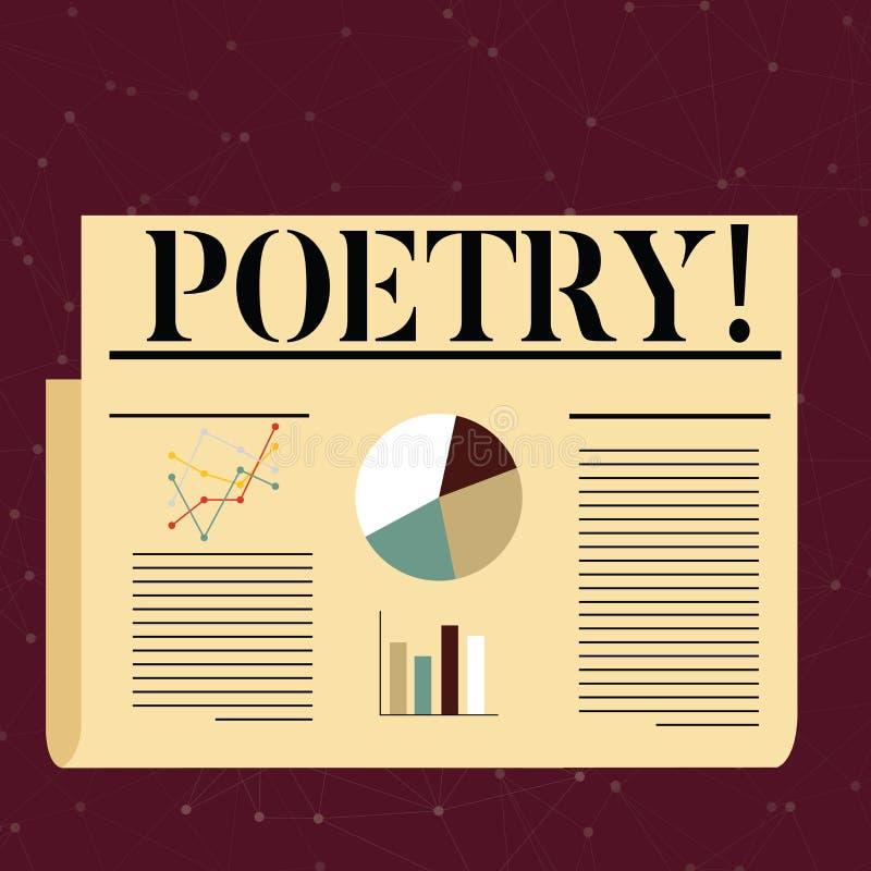 Conceptuele hand die tonend Poëzie schrijven Het Literaire werkuitdrukking van de bedrijfsfototekst van gevoelsideeën met ritmege stock illustratie