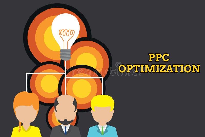 Conceptuele hand die tonend Ppc Optimalisering schrijven De Verhoging van de bedrijfsfototekst van zoekmachineplatform voor loon  stock illustratie