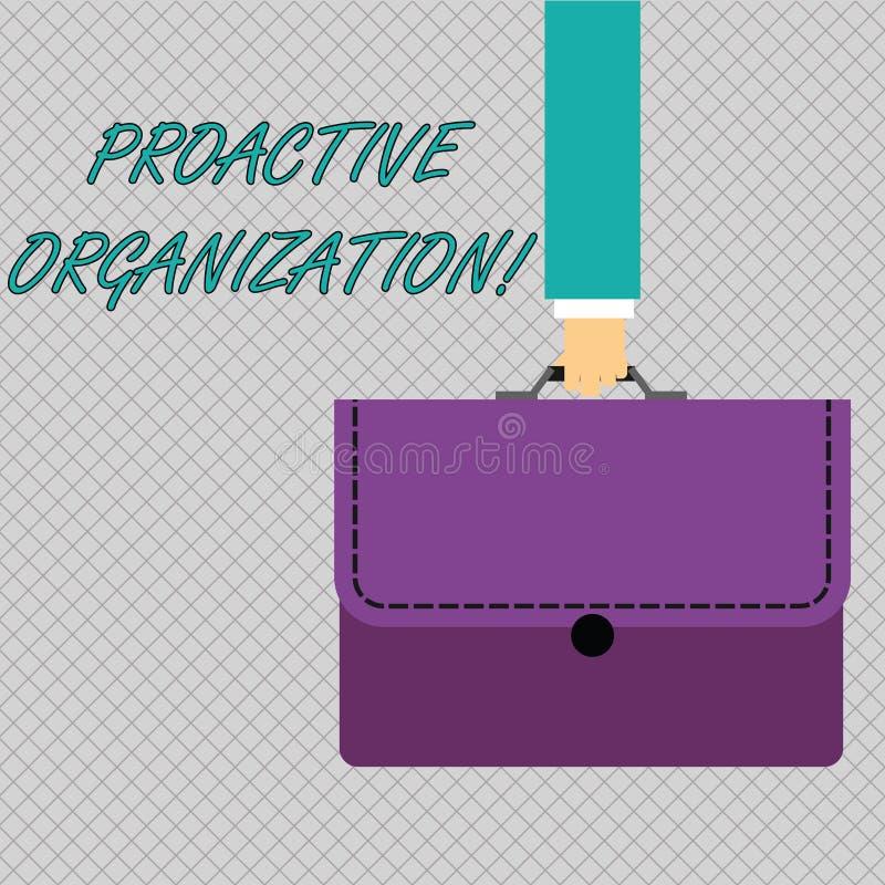 Conceptuele hand die tonend Pro-actieve Organisatie schrijven Bedrijfsfoto demonstratieactie en resultaat georiënteerd gedrag va vector illustratie