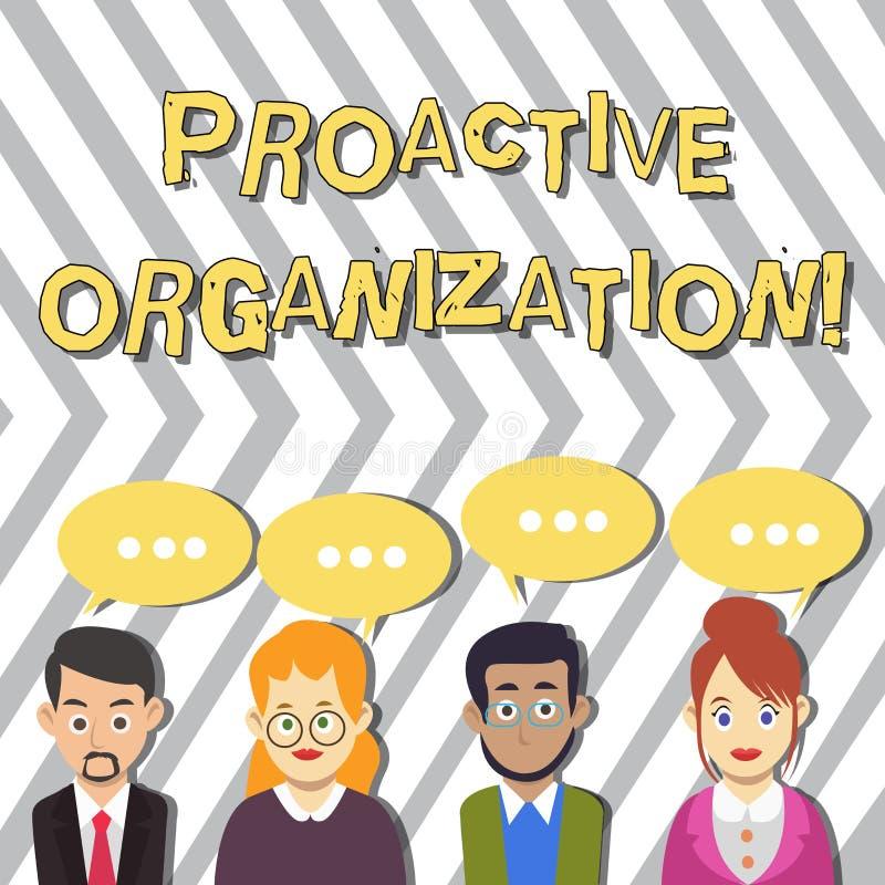 Conceptuele hand die tonend Pro-actieve Organisatie schrijven De Actie van de bedrijfsfototekst en resultaat georiënteerd gedrag stock illustratie