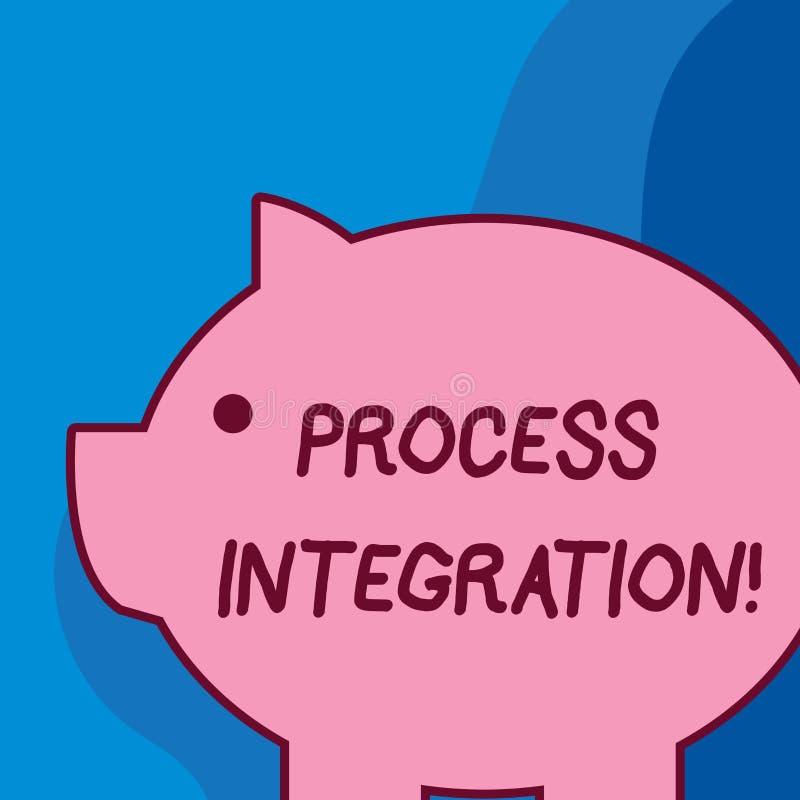 Conceptuele hand die tonend Procesintegratie schrijven De Connectiviteit van de bedrijfsfototekst van de Systemendiensten en vector illustratie