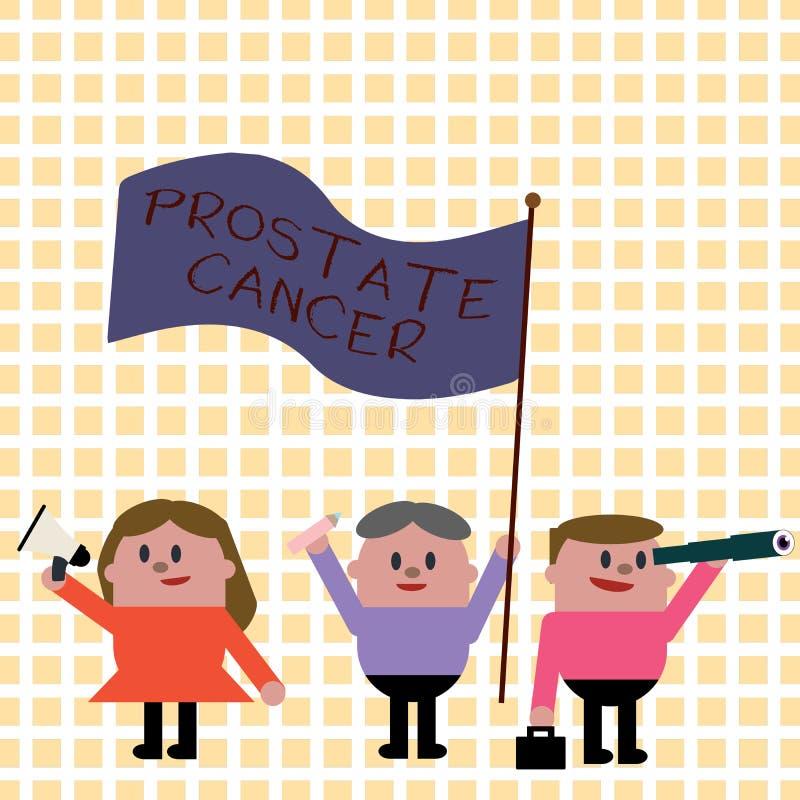 Conceptuele hand die tonend Prostate Kanker schrijven Bedrijfsfoto demonstratiekanker die in de klier van mannelijke reproductief stock illustratie