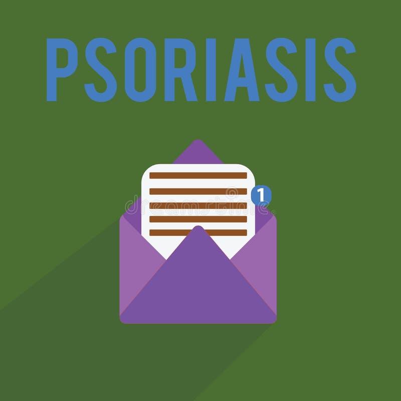 Conceptuele hand die tonend Psoriasis schrijven Gemeenschappelijke de huidvoorwaarde van de bedrijfsfototekst die de het levenscy stock illustratie