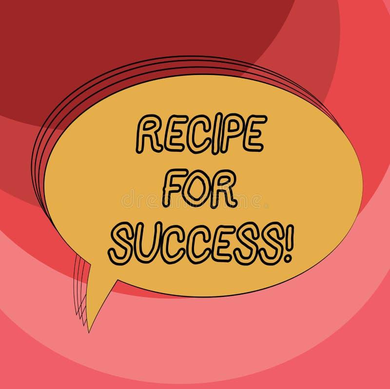Conceptuele hand die tonend Recept voor Succes schrijven Bedrijfsfoto demonstratietrucs en gidsen om bepaalde doelstellingen te b royalty-vrije illustratie