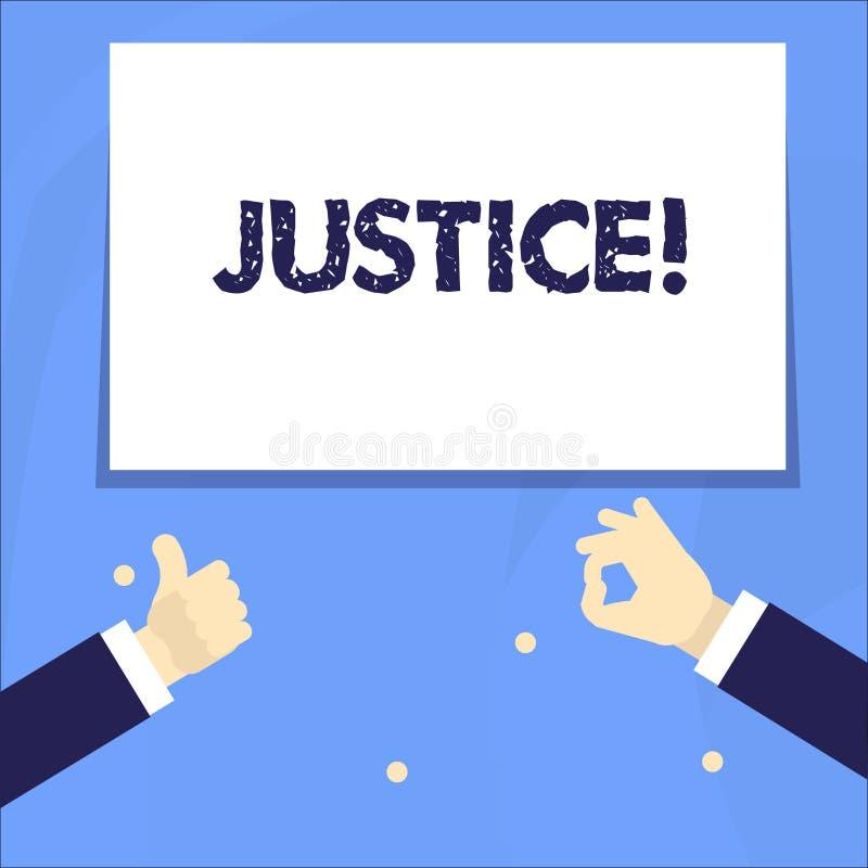 Conceptuele hand die tonend Rechtvaardigheid schrijven Bedrijfsfoto die onpartijdige aanpassing van tegenstrijdige eisen demonstr vector illustratie