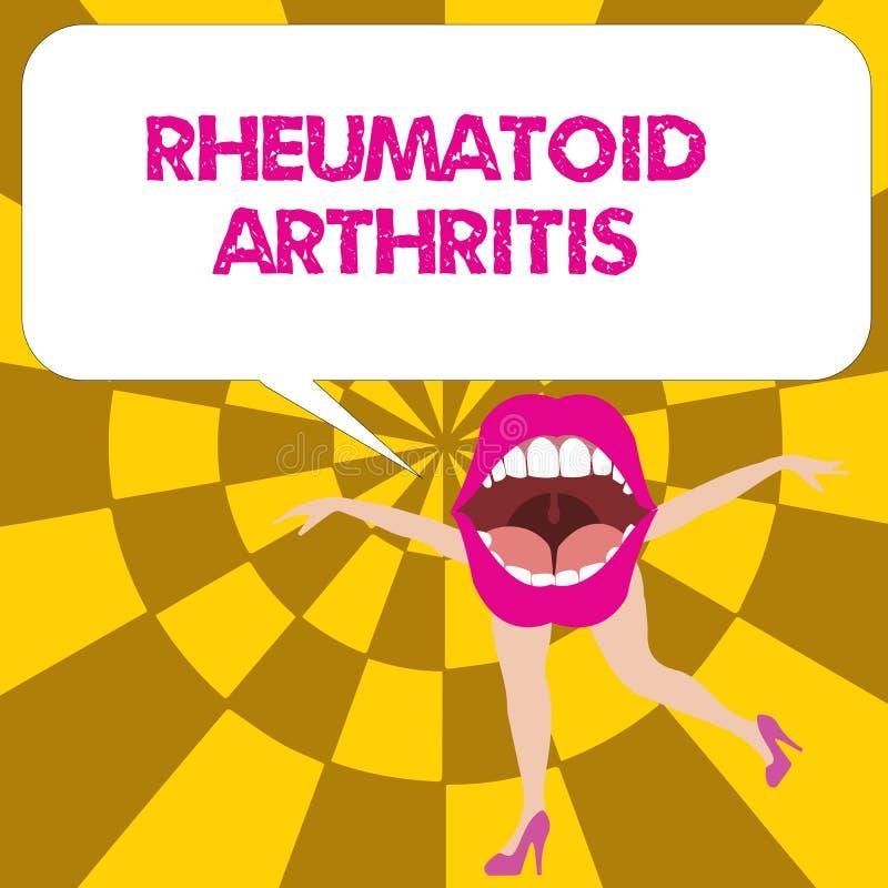 Conceptuele hand die tonend Reumatoïde Artritis schrijven De auto-immune ziekte van de bedrijfsfototekst die gezamenlijke pijn en vector illustratie