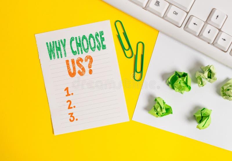 Conceptuele hand die tonend schrijven waarom ons Vraag kies De lijst van de bedrijfsfototekst van voordelen en nadelen aan royalty-vrije stock afbeelding