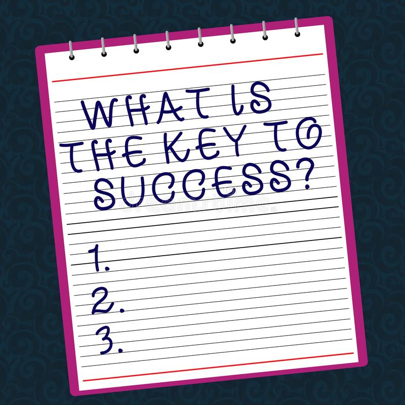 Conceptuele hand die tonend schrijven wat de Sleutel aan Succes is De Adviezen van de bedrijfsfototekst om doelstellingen zaken t stock afbeeldingen