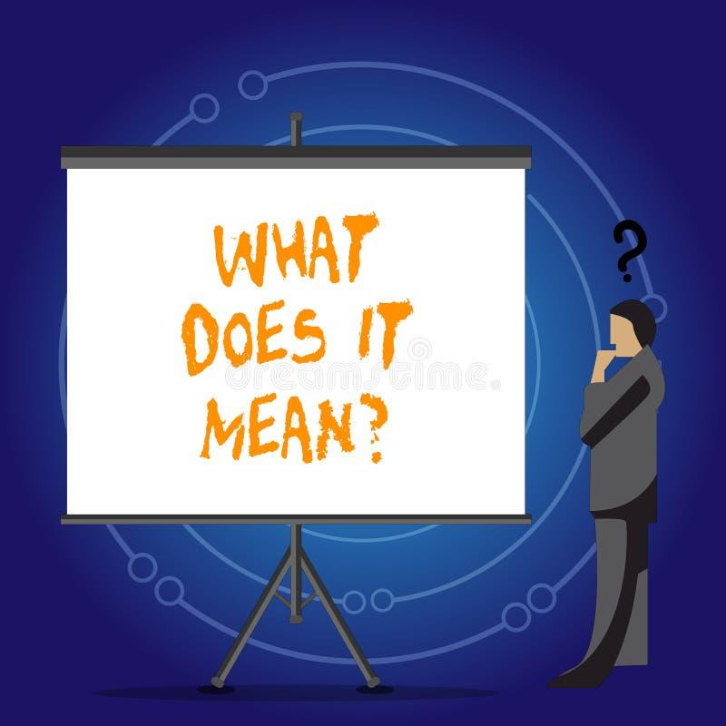 Conceptuele hand die tonend schrijven wat het Meanquestion doet De Nieuwsgierigheid van de bedrijfsfoto demonstratieverwarring he stock illustratie