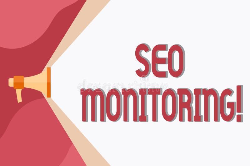Conceptuele hand die tonend Seo Monitoring schrijven Bedrijfsfoto die het proces om het zicht demonstreren van te optimaliseren vector illustratie