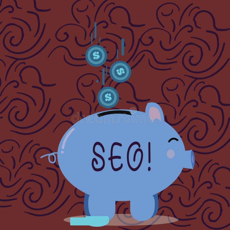 Conceptuele hand die tonend Seo schrijven De Optimalisering die van de bedrijfsfoto demonstratiezoekmachine Keywording op de mark royalty-vrije illustratie