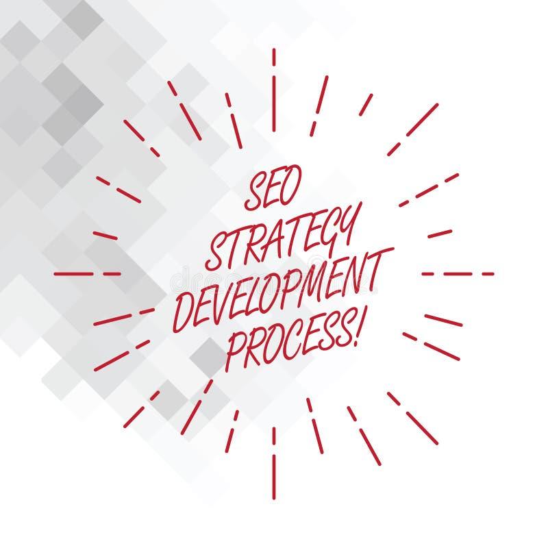 Conceptuele hand die tonend Seo Strategy Development Process schrijven De Optimalisering van de bedrijfsfoto demonstratiezoekmach vector illustratie