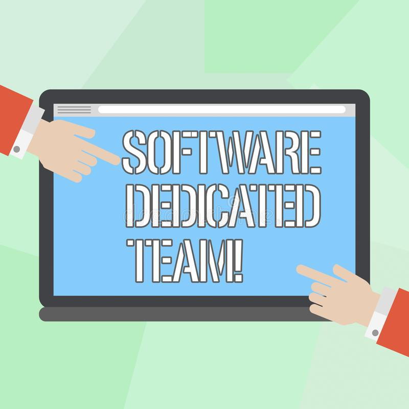 Conceptuele hand die tonend Software Specifiek Team schrijven Bedrijfsfoto demonstratie bedrijfsbenadering van app en Web royalty-vrije illustratie