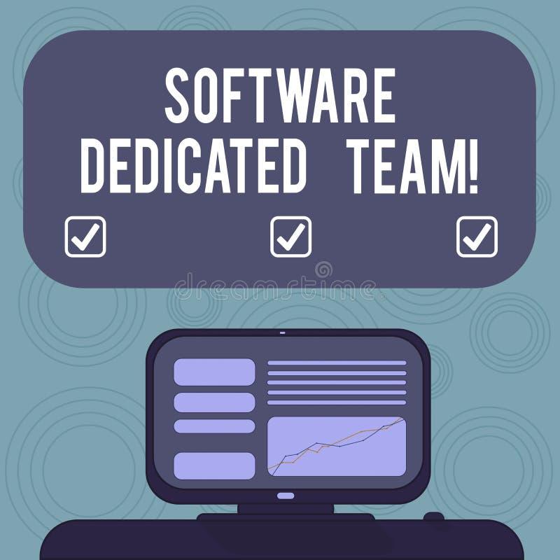Conceptuele hand die tonend Software Specifiek Team schrijven Bedrijfsfoto demonstratie bedrijfsbenadering van app en Web vector illustratie
