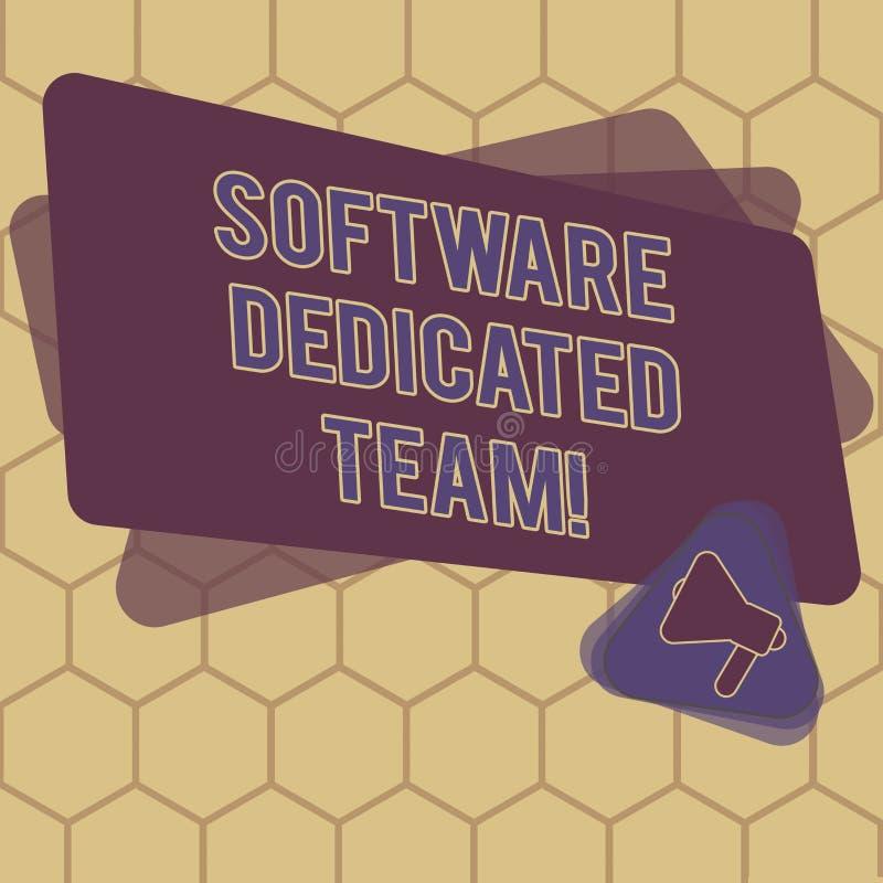 Conceptuele hand die tonend Software Specifiek Team schrijven Van de bedrijfs bedrijfsfototekst benadering van app en Web stock illustratie