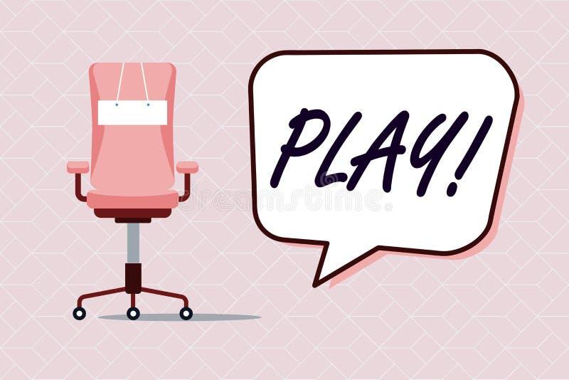 Conceptuele hand die tonend Spel schrijven De bedrijfsfototekst neemt in activiteit voor plezier en recreatie in dienst die pret  stock illustratie