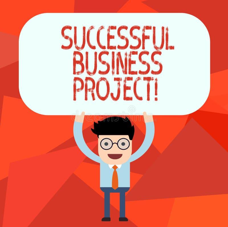 Conceptuele hand die tonend Succesvol Zakelijk project schrijven Bedrijfsfototekst het Bereiken projectdoelstellingen binnen royalty-vrije illustratie