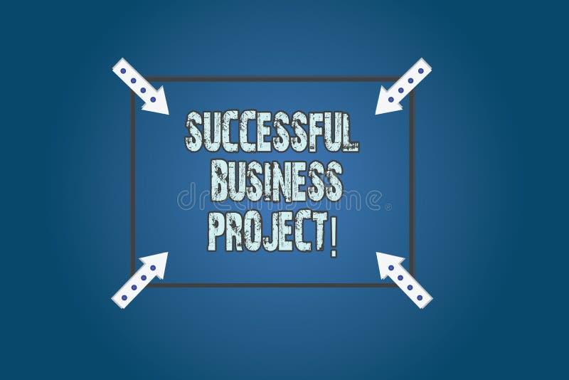 Conceptuele hand die tonend Succesvol Zakelijk project schrijven Bedrijfsfototekst het Bereiken projectdoelstellingen binnen vector illustratie