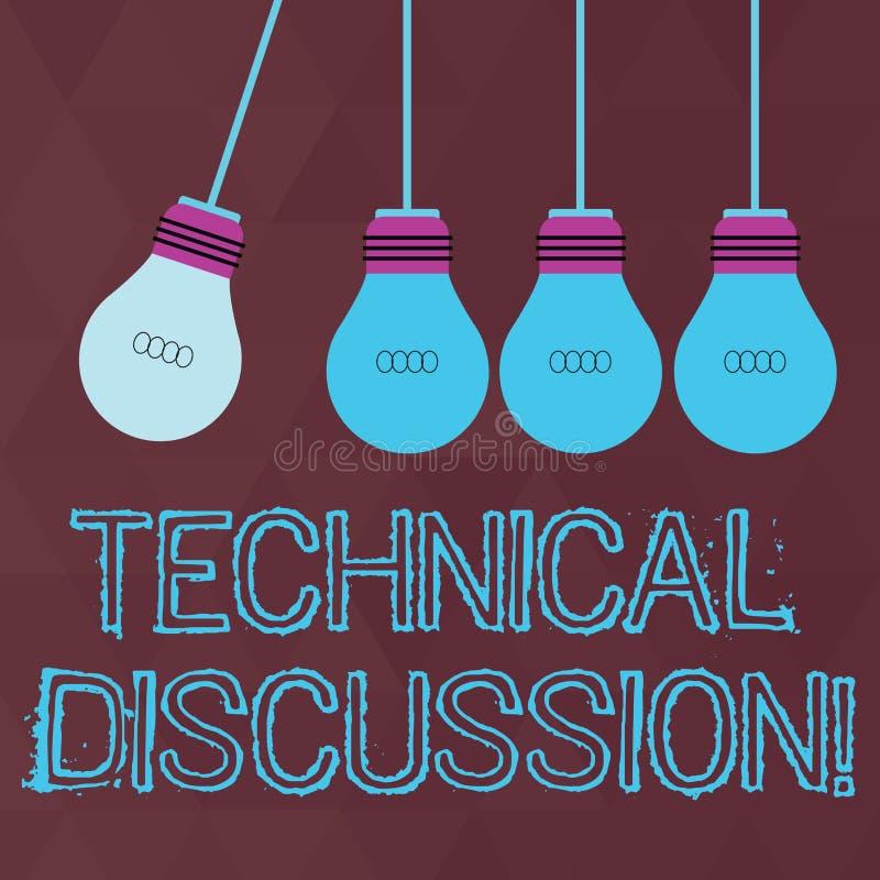 Conceptuele hand die tonend Technische Bespreking schrijven Het gesprek of het debat van de bedrijfsfototekst over specifiek stock illustratie