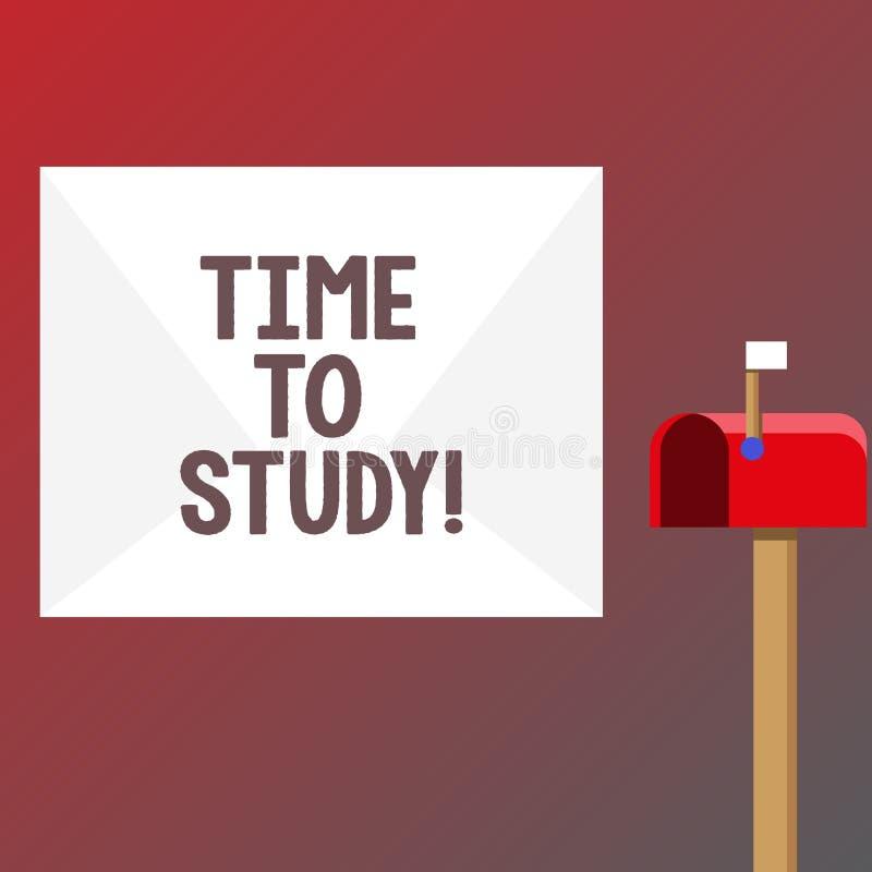 Conceptuele hand die tonend Tijd te bestuderen schrijven De Examens van de bedrijfsfototekst vergen vooruit concentraat in studie royalty-vrije illustratie