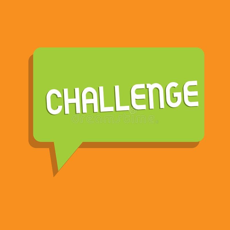 Conceptuele hand die tonend Uitdaging schrijven Bedrijfsfoto demonstratievraag aan iemand om aan concurrerend deel te nemen stock illustratie