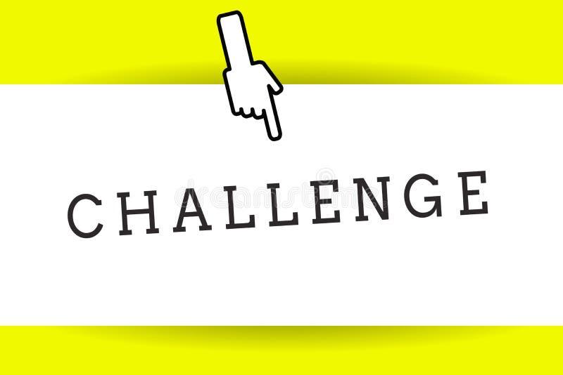 Conceptuele hand die tonend Uitdaging schrijven De bedrijfsfoto demonstratievraag aan iemand om aan concurrerende situatie deel t royalty-vrije illustratie