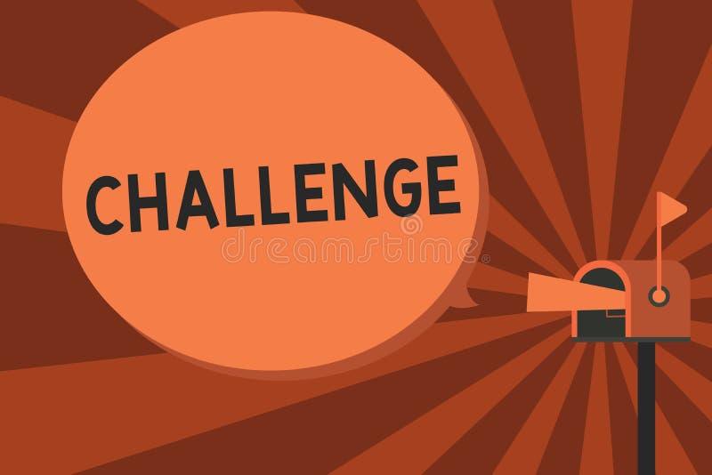 Conceptuele hand die tonend Uitdaging schrijven De vraag van de bedrijfsfototekst aan iemand om aan concurrerende situatie deel t stock illustratie