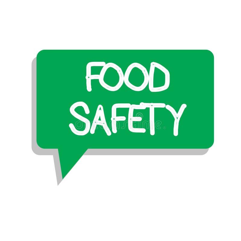 Conceptuele hand die tonend Voedselveiligheid schrijven De Voorwaarden en de praktijken van de bedrijfsfototekst die de kwaliteit royalty-vrije illustratie