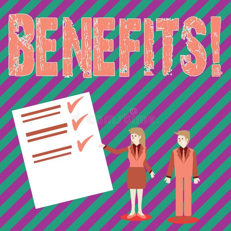 Conceptuele hand die tonend Voordelen schrijven De Stijging van de bedrijfsfototekst in toelage en salaris voor hogere werknemers royalty-vrije illustratie