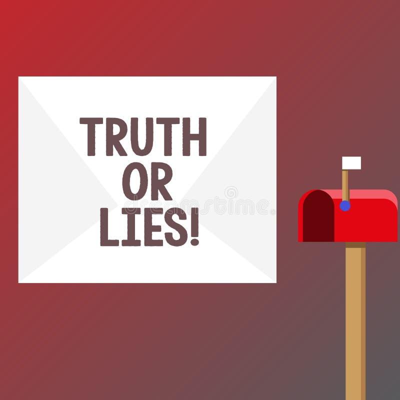 Conceptuele hand die tonend Waarheid of Leugens schrijven De bedrijfsfototekst beslist tussen een feit of het vertellen van een l royalty-vrije illustratie