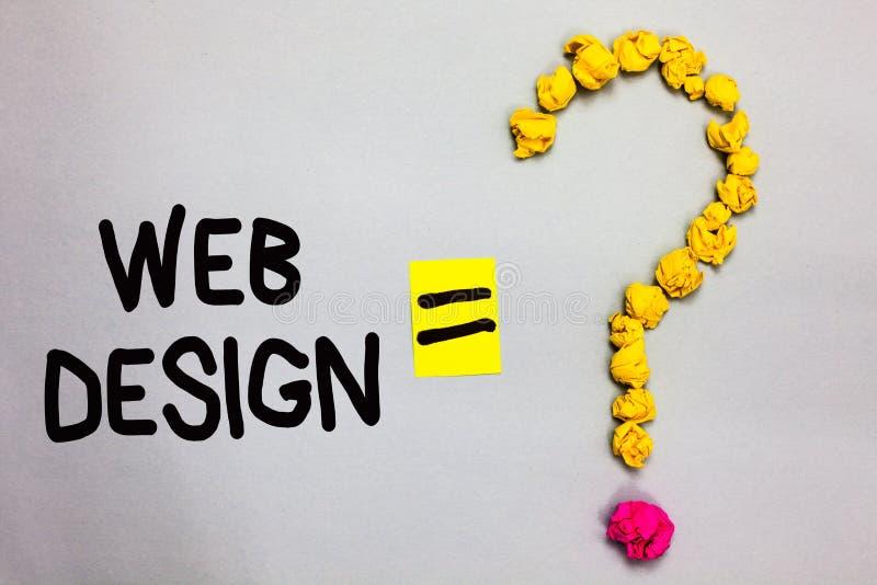 Conceptuele hand die tonend Webontwerp schrijven Bedrijfsfoto die wie demonstreren van productie en behoud van websites verantwoo stock afbeeldingen