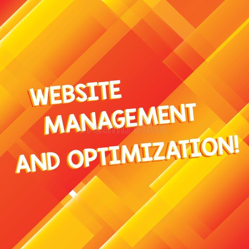 Conceptuele hand die tonend Websitebeheer en Optimalisering schrijven Bedrijfsfoto die SEO demonstreren die online inhoud optimal vector illustratie