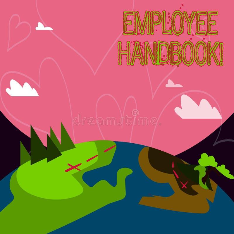 Conceptuele hand die tonend Werknemershandboek schrijven De Verordeningen van het bedrijfsfoto demonstratiedocument het Handbelei stock illustratie