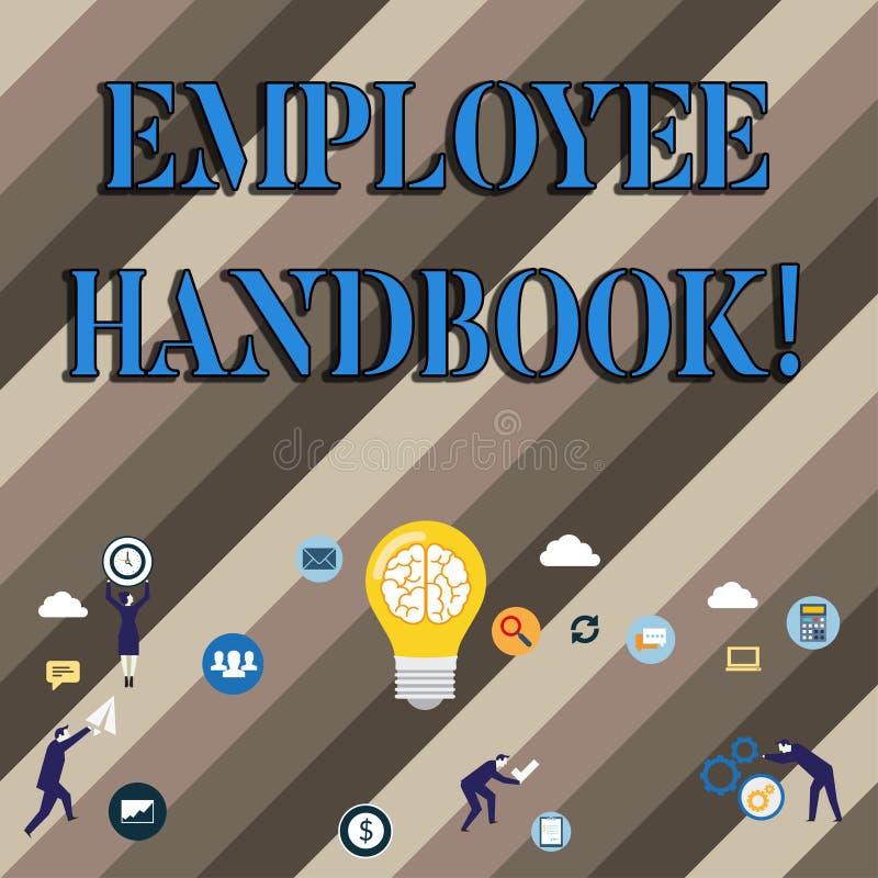 Conceptuele hand die tonend Werknemershandboek schrijven De Verordeningen van het bedrijfsfoto demonstratiedocument Handregelshan vector illustratie