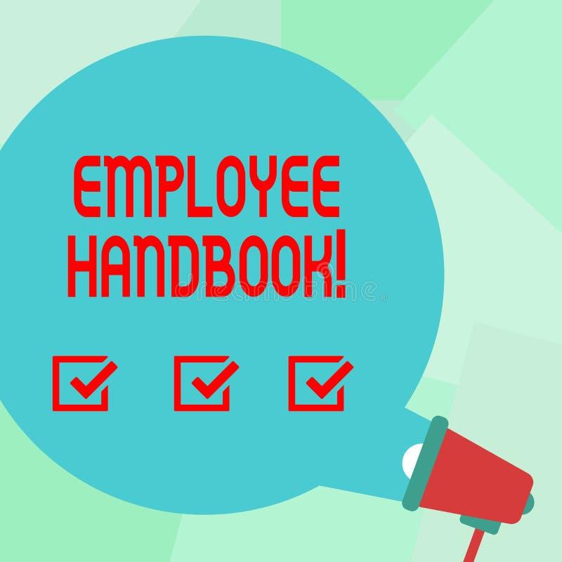 Conceptuele hand die tonend Werknemershandboek schrijven Het Document Handverordeningen van de bedrijfsfototekst Regelshandleidin royalty-vrije illustratie