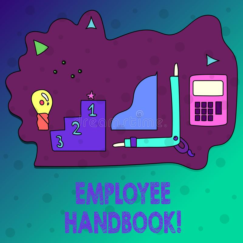 Conceptuele hand die tonend Werknemershandboek schrijven Het Document Handverordeningen van de bedrijfsfototekst Regelshandleidin stock illustratie