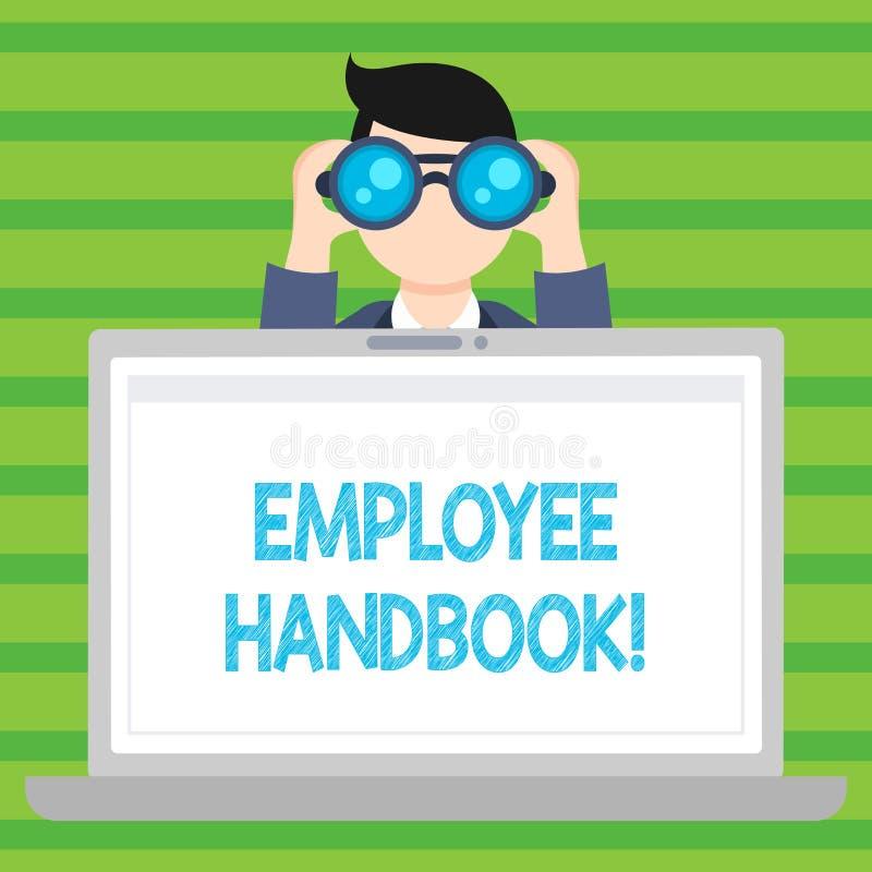 Conceptuele hand die tonend Werknemershandboek schrijven Het Document Handverordeningen van de bedrijfsfototekst Regelshandleidin vector illustratie