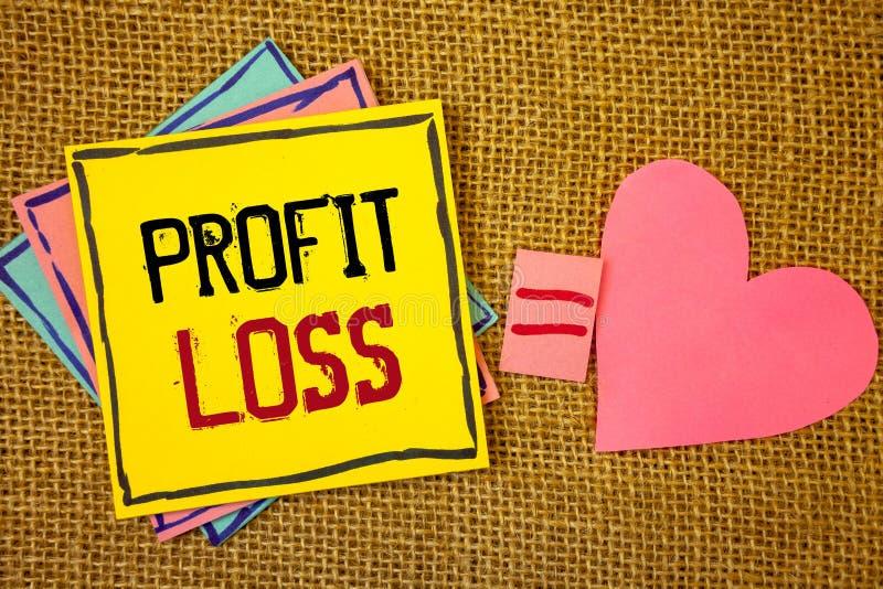 Conceptuele hand die tonend Winstverlies schrijven Bevat de Financiële het eind van het jaarrekening van de bedrijfsfoto'stekst t stock afbeeldingen