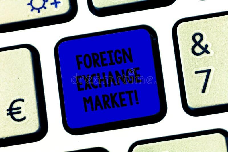 Conceptuele hand die tonend Wisselmarkt schrijven Bedrijfsfototekst globale gedecentraliseerde handel van munten stock foto