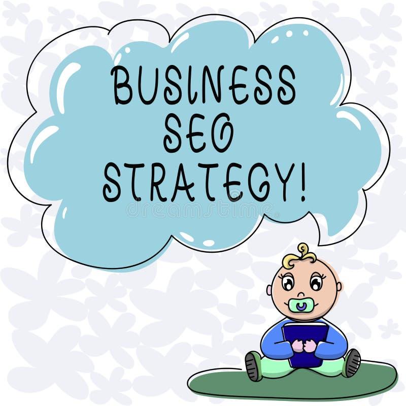 Conceptuele hand die tonend Zaken Seo Strategy schrijven De Optimalisering van de bedrijfsfototekst van website om toe te nemen h vector illustratie