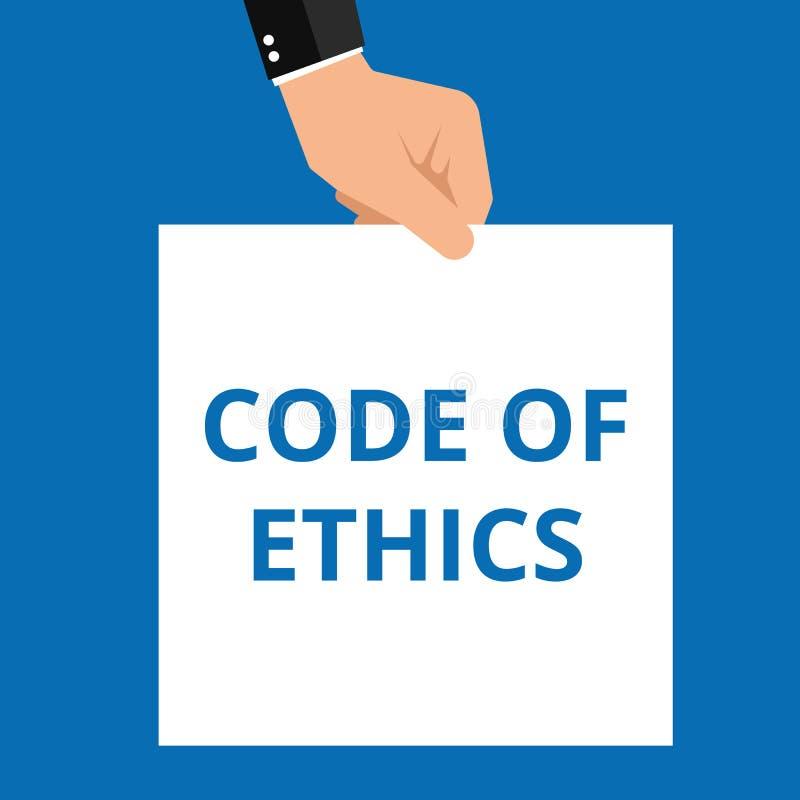Conceptuele het schrijven tonende Code van Ethiek royalty-vrije illustratie