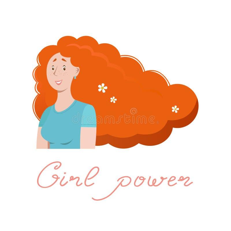 Conceptuele illustratie met een rustig meisje Beeld over de ziel, de harmonie van de binnenkant, over de eenheid met royalty-vrije illustratie