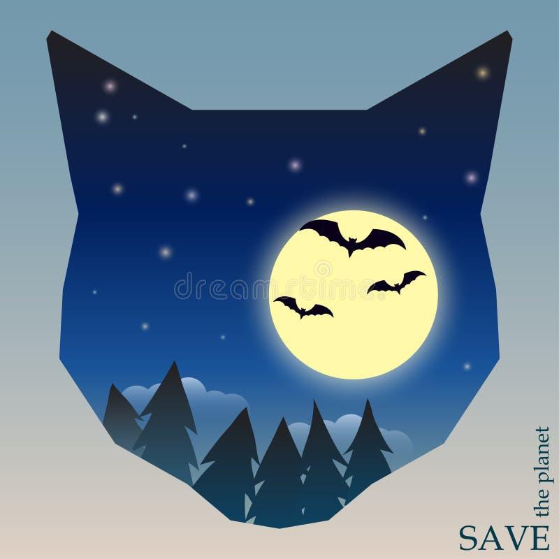 Conceptuele illustratie op het thema van bescherming van aard en dieren met nachtbos met knuppels en maan in silhouet van kat vector illustratie