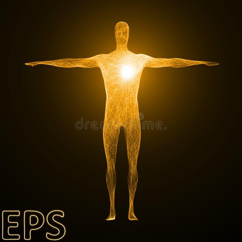 Conceptuele illustratie van hartmacht mannelijke lichaamsversie vector illustratie
