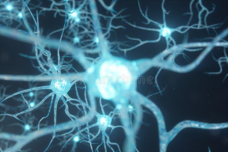 Conceptuele illustratie van neuronencellen met gloeiende verbindingsknopen Synaps en Neuronencellen die elektrochemisch product v vector illustratie