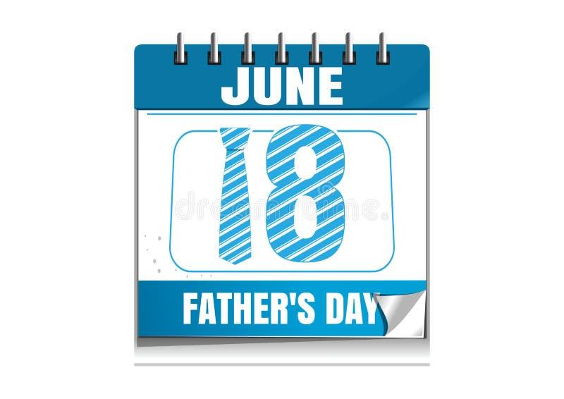 Conceptuele kalender voor Vaders Dag 2017 vector illustratie