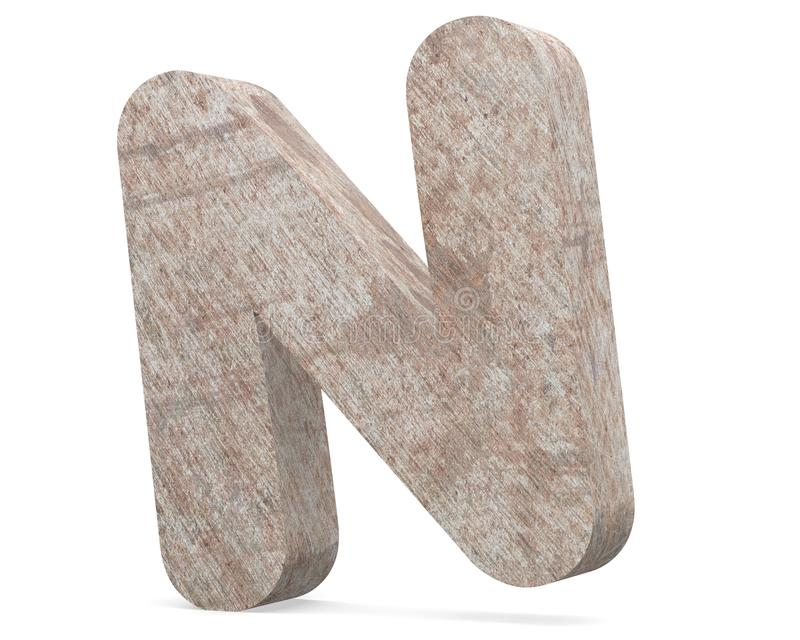 Conceptuele oude geroeste metaal hoofdletter - ijzer of staal de industriestuk geïsoleerde witte achtergrond van N, royalty-vrije illustratie