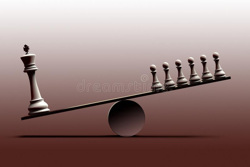 Conceptuele vertegenwoordiging van sociale ongelijkheid en de onevenwichtigheid tussen sociale die klassen met schaakstukken word vector illustratie