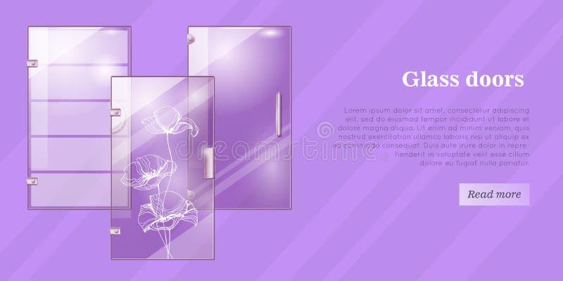 Conceptuele Vlakke Vector het Webbanner van glasdeuren royalty-vrije illustratie