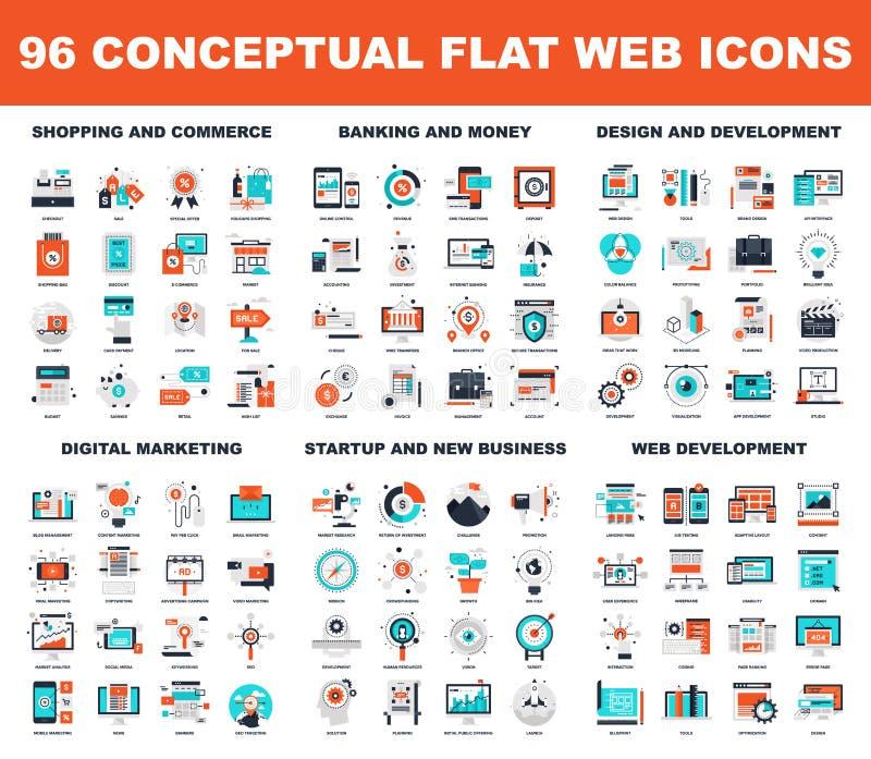 Conceptuele Vlakke Webpictogrammen vector illustratie